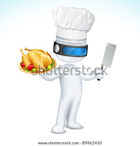 illustration of 3d cook in vector fully scalable standing with dish and knife