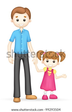 illustration of 3d father and daughter in vector fully scalable