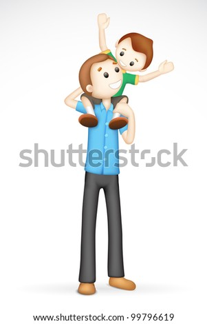 illustration of 3d father giving boy piggy back ride in fully scalable vector