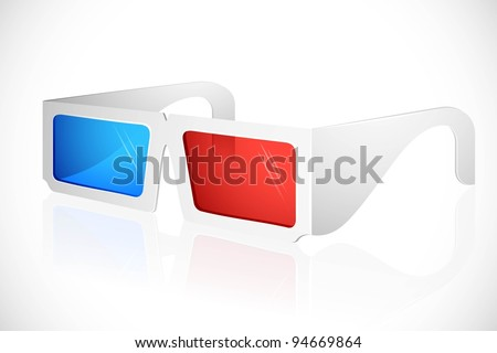 illustration of 3d glasses on white background