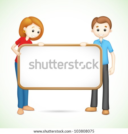 illustration of 3d happy couple in vector fully scalable holding placard
