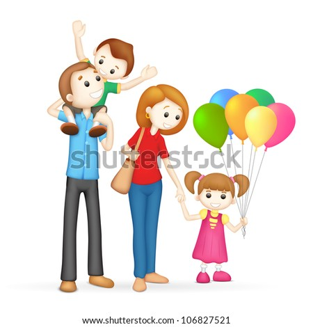 illustration of 3d happy family in vector fully scalable