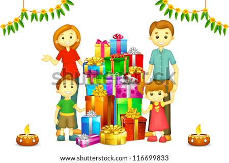 illustration of 3d happy family in vector with Diwali gift and Diya