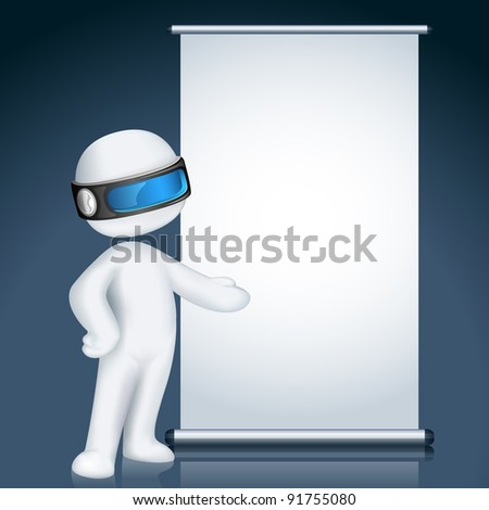 illustration of 3d man giving presentation in display board in vector fully scalable