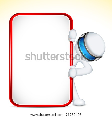 illustration of 3d man holding placard in vector fully scalable