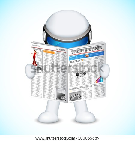 illustration of 3d man in fully scalable vector reading newspaper