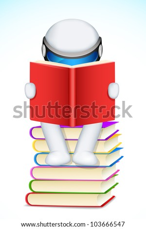 illustration of 3d man in scalable vector reading book