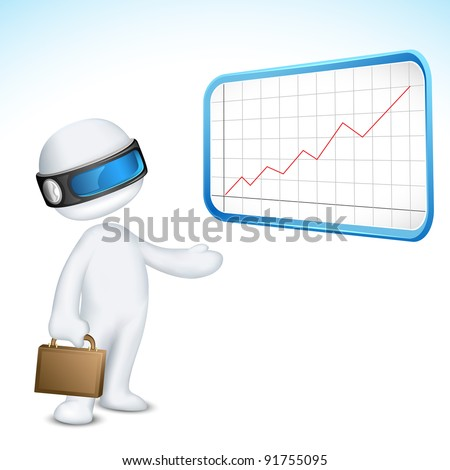 illustration of 3d man in vector fully scalable giving presentation through bar graph