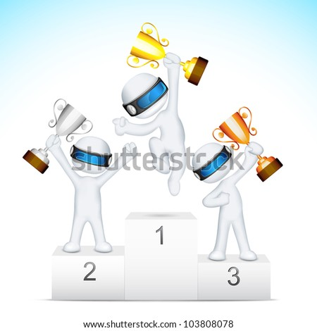 illustration of 3d man in vector fully scalable holding trophy on victory podium