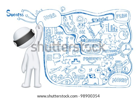 illustration of 3d man in vector fully scalable making business doddle