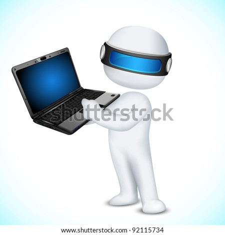 illustration of 3d man in vector fully scalable showing laptop