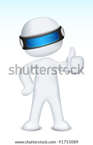 illustration of 3d man in vector fully scalable showing ok sign