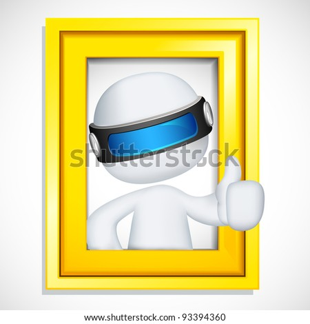 illustration of 3d man in vector fully scalable showing ok sign from photo frame