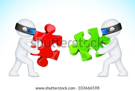 illustration of 3d man in vector fully scalable solving jigsaw puzzle