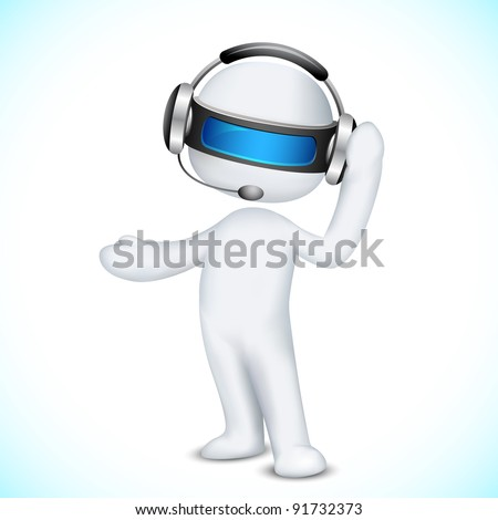 illustration of 3d man in vector fully scalable talking on headphone in call center
