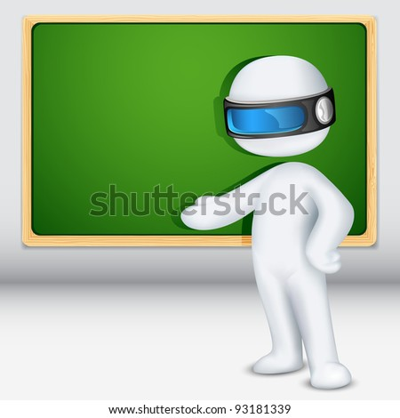 illustration of 3d man in vector fully scalable with chalk board