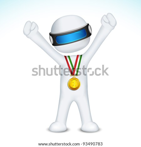 illustration of 3d man in vector fully scalable with gold medal