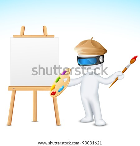 illustration of 3d man in vector fully scalable with paint brush and easel