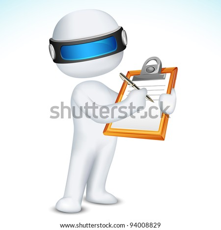 illustration of 3d man writing on notepad in vector fully scalable