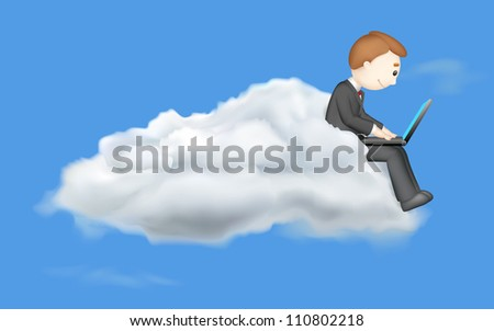illustration of 3d vector business man working on laptop in cloud - stock vector