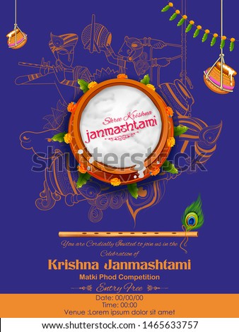 illustration of dahi handi celebration in Happy Janmashtami festival background of India