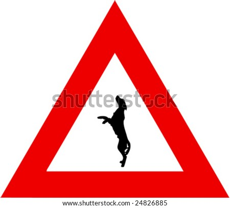 illustration of danger sign with leaping dog