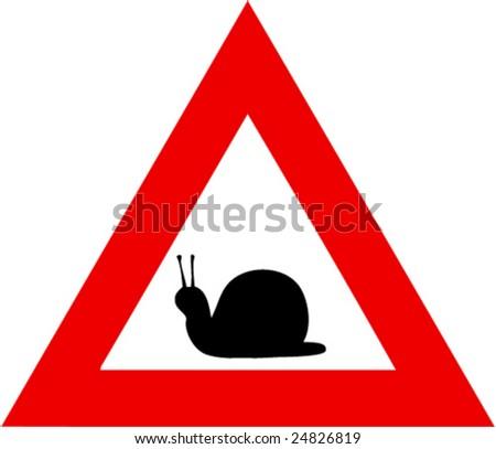 illustration of danger sign with snail