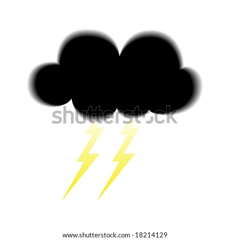 Illustration of Dark Cloud Icon With Lightnings Underneath