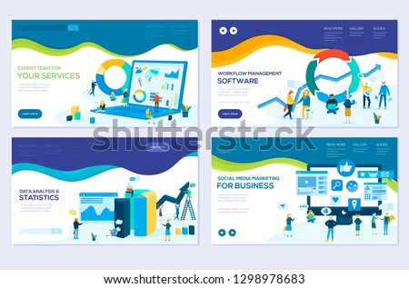 illustration of data analysis, management app, consulting, social media marketing modern vector concepts. Set of web page design templates. Banners website and mobile website development