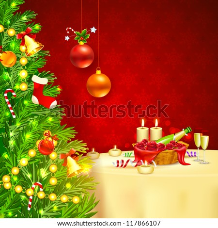 illustration of decorated Christmas tree with champagne glass