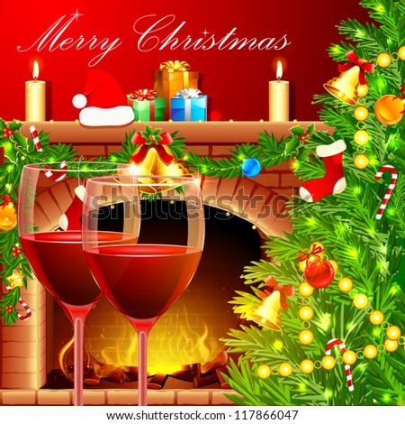 illustration of decorated Christmas tree with wine glass near fireplace