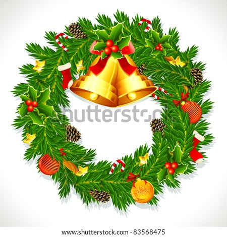 illustration of decorated christmas wreath with ball,bell and pine cone