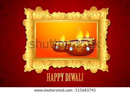 illustration of decorated Diwali diya on floral background background