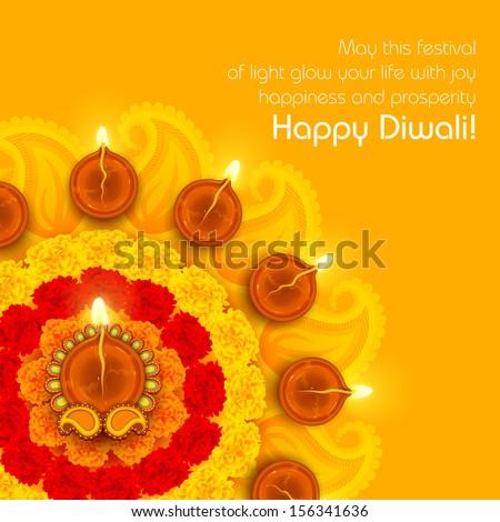 illustration of decorated Diwali diya on flower rangoli