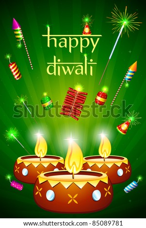 illustration of decorated diwali diya with fire cracker