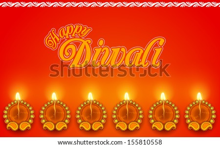 illustration of Decorated Diya for Diwali Holiday