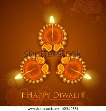 illustration of Decorated Diya for Diwali Holiday