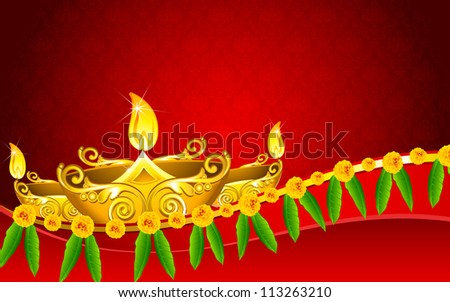 illustration of decorated golden diya for Diwali