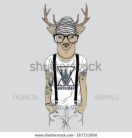 illustration of deer dressed up