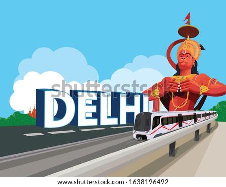 Illustration of Delhi Skyline with Delhi Typography, Hanuman Temple