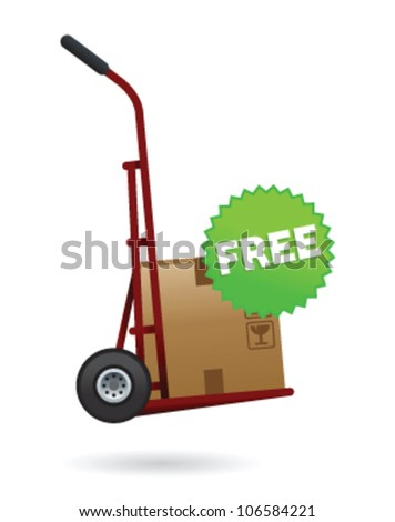 Illustration of delivery cart with package upon and free sticker
