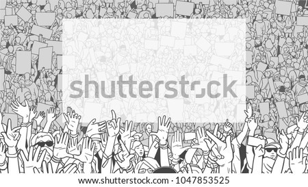 Illustration of dertailed crowd protest demonstration with large blank banner