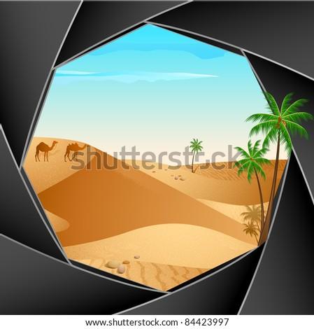 illustration of desert scene through shutter of camera