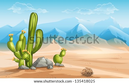 illustration of desert with