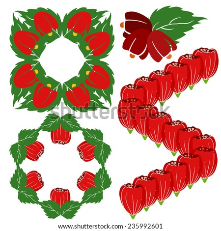 Illustration of design elements from flower and lief. Red flowers isolated on white background