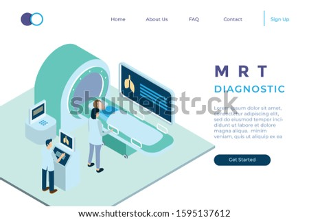 illustration of diagnosis with MRT in isometric 3d style