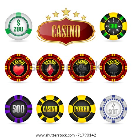 illustration of different casino coins on isolated background