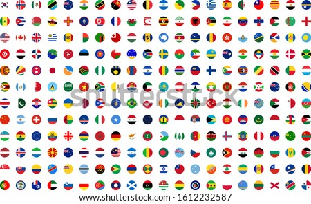 Illustration of different circle flags, with white background vector