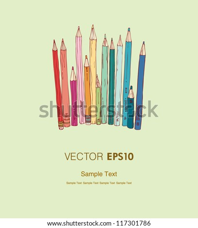 Illustration of different colorful pencils and place for your text. Background with hand drawn linear illustration and sample text, template for design and decoration