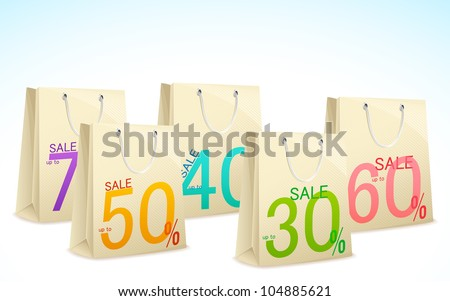 illustration of different discount offer on shopping bag